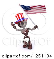 Clipart Of A 3d Red Android Robot Uncle Same Waving An American Flag Royalty Free Illustration