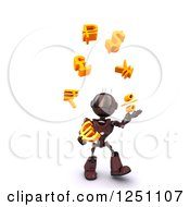 Clipart Of A 3d Red Android Robot Juggling Currency Symbols Royalty Free Illustration by KJ Pargeter