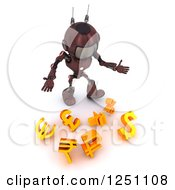 Clipart Of A 3d Red Android Robot Dropping Currency Symbols Royalty Free Illustration by KJ Pargeter