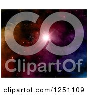 Clipart Of A Colorful Nebula And Star Background Royalty Free Illustration