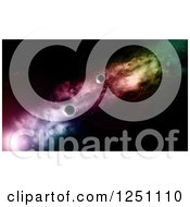 Clipart Of 3d Fictional Planets And Rainbow Colored Light In Outer Space Royalty Free Illustration
