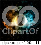 Clipart Of A 3d Nebula Fire And Ice Planet Royalty Free Illustration