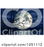 Clipart Of A 3d Dead Tree Over A Lake And Full Moon At Night Royalty Free Illustration