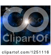 Clipart Of A 3d Starburst And Planets In Outer Space Royalty Free Illustration