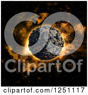 Clipart Of A 3d Volcanic Planet In Outer Space Royalty Free Illustration