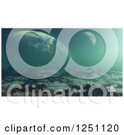 Clipart Of A 3d Alien Landscape With Mountains A Moon And Foregin Planet In The Distance Royalty Free Illustration