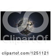 Clipart Of A 3d Dead Planet With Bare Trees Royalty Free Illustration
