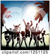Clipart Of Silhouetted People Jumping And Dancing Between Palm Trees At Sunset Royalty Free Vector Illustration by KJ Pargeter