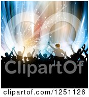 Clipart Of A Crowd Dancing At A Party Over Colorful Lights Royalty Free Vector Illustration