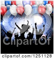Clipart Of Silhouetted People Dancing Against Lights And 3d Independence Day Party Balloons Royalty Free Vector Illustration by KJ Pargeter