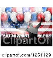 Clipart Of A Light Burst 3d Party Balloons And Silhouetted People Dancing Over An American Flag Royalty Free Vector Illustration