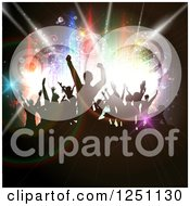 Clipart Of Silhouetted Dancing People Over Circles And Colorful Lights Royalty Free Vector Illustration