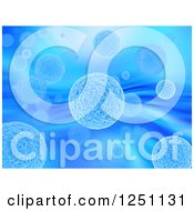 Clipart Of A Blue Background Of 3d Viruses Royalty Free Illustration