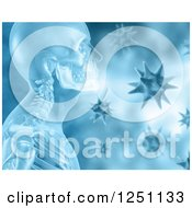 Clipart Of A 3d X Ray Of A Man And Viruses In Blue Royalty Free Illustration