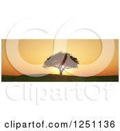 Clipart Of A 3d Lone Tree On A Hill Against An Orange Sunset Royalty Free Illustration