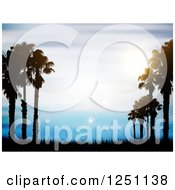 Clipart Of Silhouetted Palm Trees And Grass Over Blue Sky With Flares Royalty Free Vector Illustration