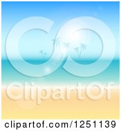 Clipart Of A Sun Flare Over A Tropical Island Ocean And Beach Royalty Free Vector Illustration