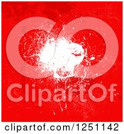 Clipart Of A Red Background With A White Grunge Splatter Royalty Free Vector Illustration