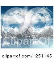 Clipart Of A Cloud And Sunny Sky Over A Mountain Range And Lake Royalty Free Illustration