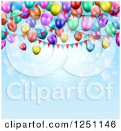 Clipart Of A Blue Flare Party Background With 3d Colorful Balloons And Bunting Banners Royalty Free Vector Illustration