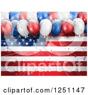 Clipart Of A Burst Of Light And 3d Party Balloons Over An American Flag Royalty Free Vector Illustration by KJ Pargeter