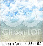 Clipart Of A Scratched Background Merging Into Cloudy Sky Royalty Free Illustration