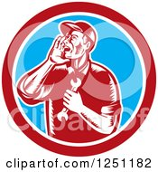 Clipart Of A Retro Woodcut Male Mechanic Holding A Spanner Wrench And Calling Out In A Circle Royalty Free Vector Illustration by patrimonio