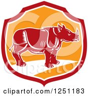 Retro Woodcut Rhino In A Red And Orange Shield