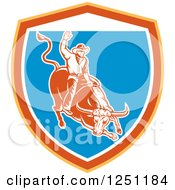 Poster, Art Print Of Retro Woodcut Rodeo Cowboy On A Bull In A Yellow Orange White And Blue Shield