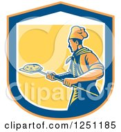 Clipart Of A Retro Woodcut Chef With A Pizza On A Peel Inside A Shield Royalty Free Vector Illustration