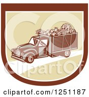 Retro Woodcut Produce Delivery Truck In A Shield