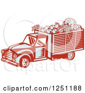 Clipart Of A Retro Woodcut Produce Delivery Truck Royalty Free Vector Illustration