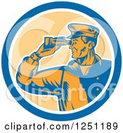 Clipart Of A Retro Male Sea Captain Using Binoculars In A Circle Royalty Free Vector Illustration