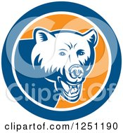 Clipart Of A Retro Woodcut Grizzly Bear In A Blue And Orange Circle Royalty Free Vector Illustration