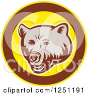 Clipart Of A Retro Woodcut Grizzly Bear In A Brown And Yellow Circle Royalty Free Vector Illustration by patrimonio