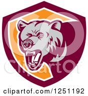Clipart Of A Retro Woodcut Grizzly Bear Roaring In A Maroon And Orange Shield Royalty Free Vector Illustration