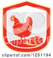 Retro Woodcut Hen And Chicken Eggs In A Nest In A Gray And Red Shield