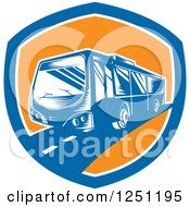 Retro Woodcut Coach Bus In A Blue And Orange Shield