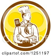 Clipart Of A Retro Woodcut Male Chef With A Spatula In A Brown And Yellow Circle Royalty Free Vector Illustration