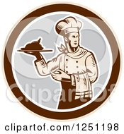 Clipart Of A Retro Woodcut Male Chef Serving A Roasted Chicken In A Gray And Brown Circle Royalty Free Vector Illustration