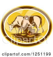Clipart Of A Retro Woodcut Male Fermer Milking A Cow In A Yellow And Brown Oval Royalty Free Vector Illustration by patrimonio