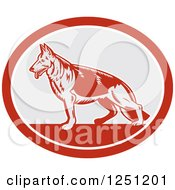 Clipart Of A Retro Woodcut German Shepherd Dog In A Gray And Red Oval Royalty Free Vector Illustration