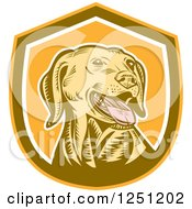 Clipart Of A Retro Woodcut Yellow Labrador Retriever Dog In A Brown And Orange Shield Royalty Free Vector Illustration by patrimonio