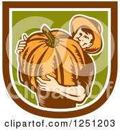 Clipart Of A Retro Male Farmer Carrying A Giant Pumpkin In A Brown White And Green Shield Royalty Free Vector Illustration