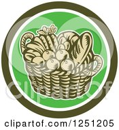 Clipart Of A Retro Woodcut Basket Of Fruit And Bread In A Green Circle Royalty Free Vector Illustration by patrimonio