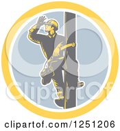 Retro Woodcut Male Power Lineman Looking Out On A Pole In A Circle