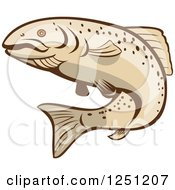 Clipart Of A Rainbow Trout Fish Royalty Free Vector Illustration by patrimonio