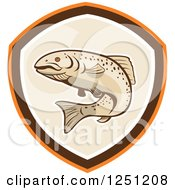 Clipart Of A Rainbow Trout In A Tan Brown And Orange Shield Royalty Free Vector Illustration by patrimonio