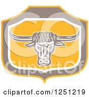 Clipart Of A Retro Angry Bull In A Taupe And Yellow Shield Royalty Free Vector Illustration