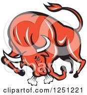 Clipart Of A Retro Red Angry Bull Charging Royalty Free Vector Illustration by patrimonio
